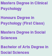 Masters Degree in Clinical Psychology, Honours Degree in Psychology (First Class), Masters Degree in Social Sciences, Bachelor of Arts Degree in Social Sciences